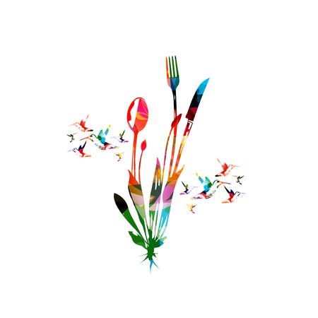 Ensemble de couverts, cuillère, fourchette et couteau isolé illustration vectorielle. Conception de vaisselle colorée pour affiche de restaurant, menu de restaurant, événements Banque d'images - 83442739