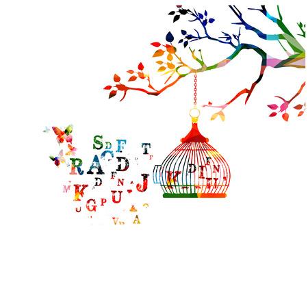 Colorful open birdcage with alphabet letters vector illustration. Alphabet text design for education concept