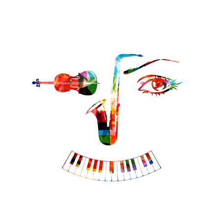 楽器、サックス、チェロ、ピアノの鍵盤の背景。楽器人間形成に直面する分離ベクトル イラスト デザイン