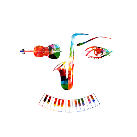 Music instruments, saxophone, violoncello and piano keyboard background. Music instruments forming human face isolated vector illustration design Illustration