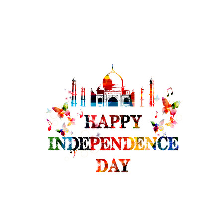 Happy Indian Independence Day colorful vector illustration with Taj Mahal background