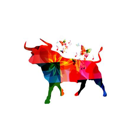 分離された牛ベクトル イラスト カラフルなデザイン