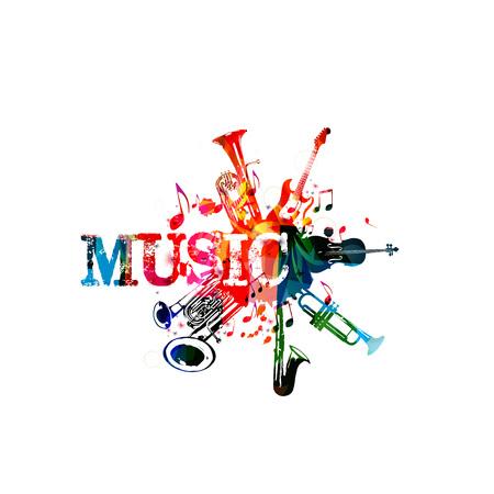 Cartel de música con instrumentos de música. Colorido euphonium, doble campana euphonium, saxofón, trompeta, violonchelo y guitarra con notas musicales aislado ilustración vectorial diseño Foto de archivo - 83884096