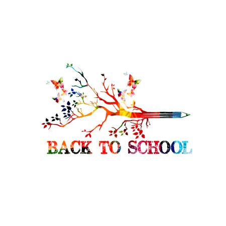 Back to school inscription vector illustration design. Colorful lettering design with pencil