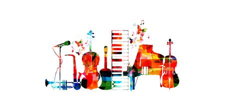 Manifesto musicale con strumenti musicali. Il microfono variopinto, il piano, il sassofono, la tromba, il violoncello, il contrabbasso e la chitarra hanno isolato la progettazione dell'illustrazione di vettore Vettoriali