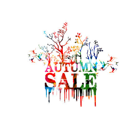 Autumn sale banner colorful vector illustration. Sale poster, sale flyer, autumn sale isolated vector