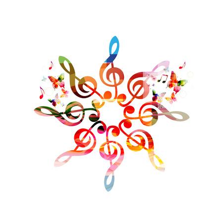 ト音記号のパターンを持つ音楽ポスター。カラフルなト音記号分離設計