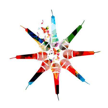 마이크 포스터입니다. 다채로운 마이크 고립 된 벡터 일러스트 디자인