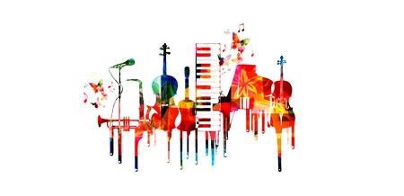 Cartel de música con instrumentos musicales. Colorido teclado de piano, saxofón, trompeta, violonchelo, contrabajo, guitarra y micrófono con notas de música aislado diseño de ilustración vectorial Foto de archivo - 84230815
