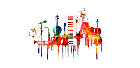 Music poster with music instruments. Colorful piano keyboard, saxophone, trumpet, violoncello, contrabass, guitar and microphone with music notes isolated vector illustration design Çizim