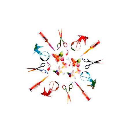 Outils de coiffure vector illustration fond avec peigne coloré, ciseaux et pulvérisateur. Peigne, ciseaux, modèle de fond de pulvérisateur isolé