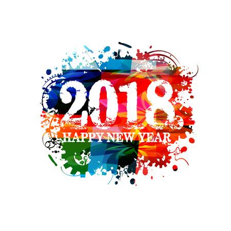 幸せな新しい年 2018 カラフルなレタリング テンプレート デザインの背景、ベクトル イラスト