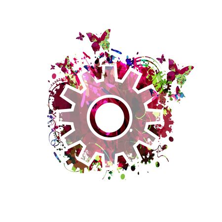 Colorful cogwheel isolated vector illustration, gear symbol
