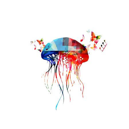 Jellyfish colorful design isolated illustration.