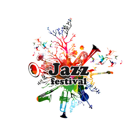 Jazz music festival colorful banner. 向量圖像