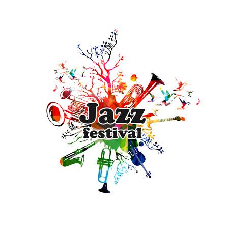 Jazz music festival colorful banner. Stock Illustratie