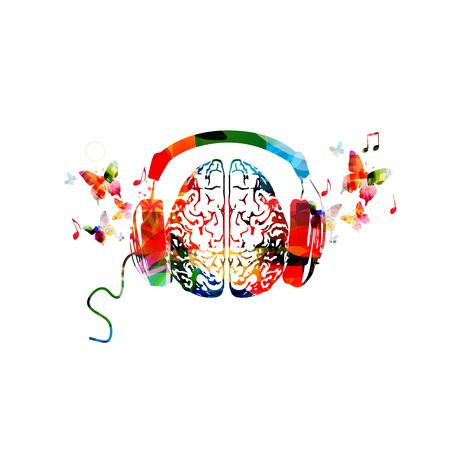 헤드폰 일러스트와 함께 다채로운 인간 두뇌입니다. 일러스트
