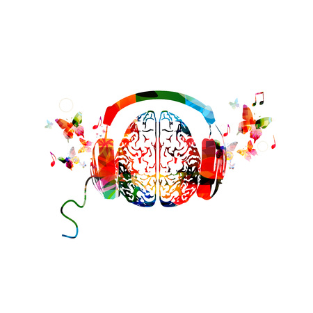 Colorful human brain with headphones illustration.
