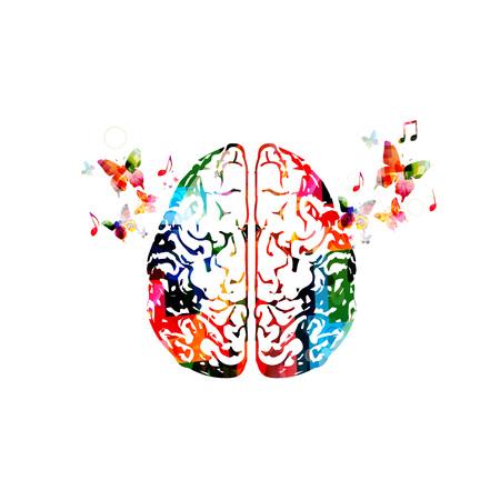 カラフルな人間の脳の図。  イラスト・ベクター素材