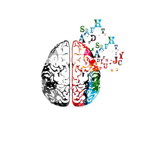アルファベット文字のイラストとカラフルな人間の脳。