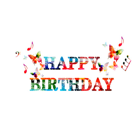 Colorful happy birthday calligraphy lettering illustration. Vetores
