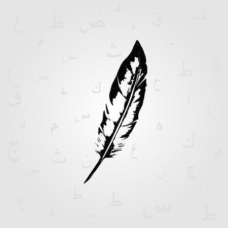 Plume noire et blanche avec des symboles de calligraphie islamique arabe vector illustration. Éducation et écriture de fond avec le texte de l'alphabet arabe. Conception de typographie Banque d'images - 86538866