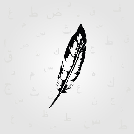 Black and white feather with Arabic Islamic calligraphy symbols vector illustration. Education and writing background with Arabic alphabet text. Typography design Illustration