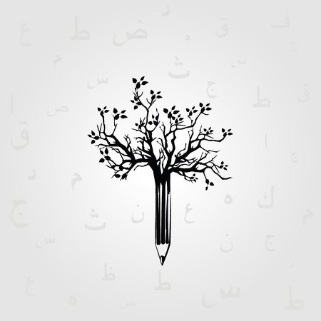 Black and white pencil tree vector illustration with Arabic calligraphy symbols. Creative writing, storytelling, blogging, education. Alphabetic design