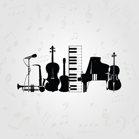 Music poster with music instruments. Black and white microphone, piano, saxophone, trumpet, violoncello, contrabass and guitar vector illustration design