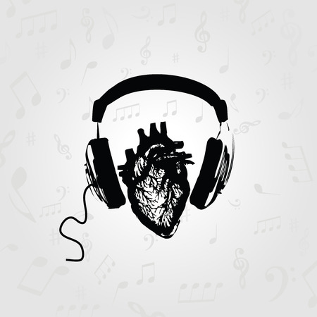Music design. Listening to music. Black and white headphones with human heart vector illustration Çizim