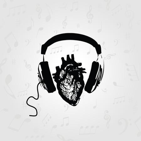 Muziek ontwerp. Naar muziek aan het luisteren. Zwart-witte hoofdtelefoons met menselijke hart vectorillustratie