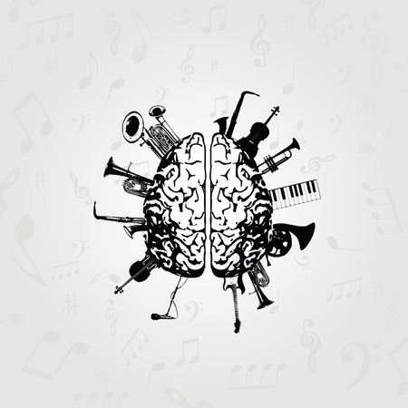 Music design vector. Black and white human brain with music instruments vector illustration Illustration