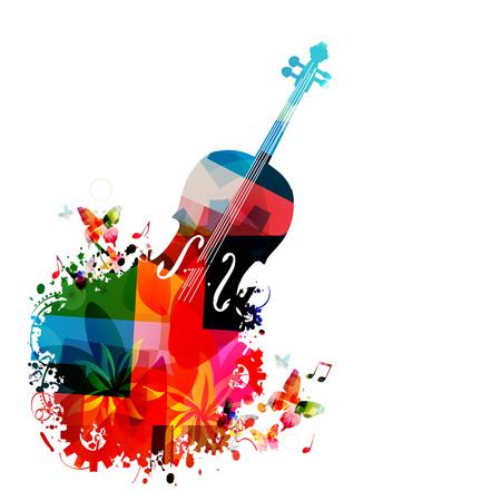 音楽の楽器の背景。カラフルなチェロ音楽ノート分離ベクトル図  イラスト・ベクター素材