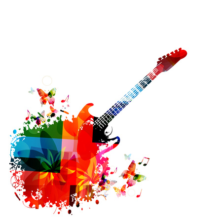 Music instrument background. Colorful guitar with music notes isolated vector illustration