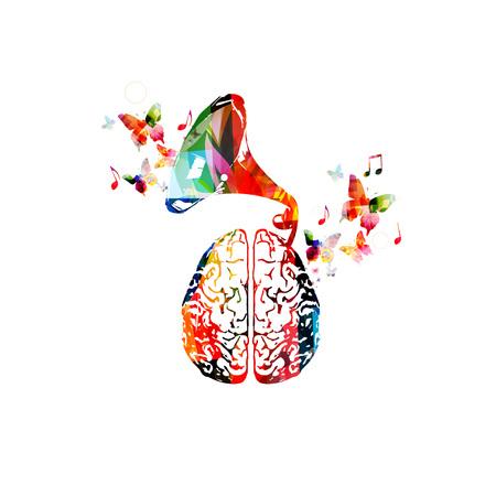 Muziek ontwerp. Kleurrijke menselijke hersenen met oude grammofoon spreker geïsoleerde vectorillustratie