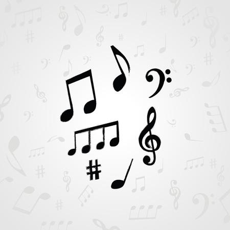 白と黒の音符。カード、ポスター、招待状の音楽要素。音楽背景デザイン ベクトル イラスト