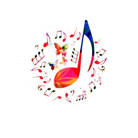 音符と音楽ポスター デザイン。カラフルな音楽ノート分離ベクトル図  イラスト・ベクター素材