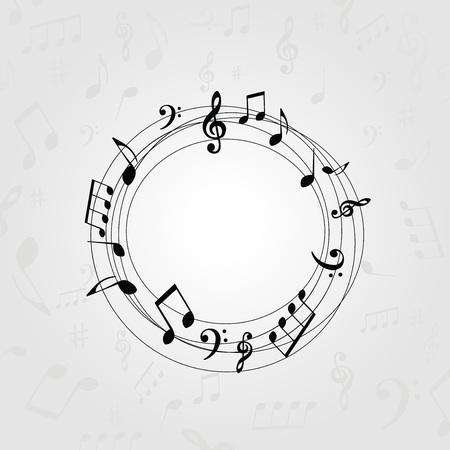 Zwart-witte muziekbanner met muzieknota's. Muziek elementen frame voor kaart, poster, uitnodiging. Muziek achtergrond ontwerp vectorillustratie Stock Illustratie