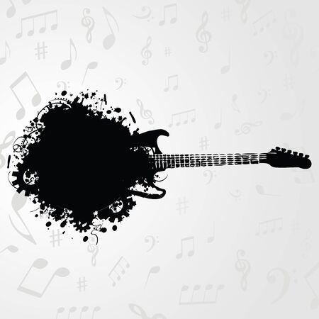 Fondo de instrumento de música. Guitarra blanco y negro con la ilustración de vector de fondo de notas de música Foto de archivo - 87606489