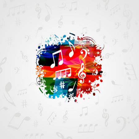 音符と音楽ポスター デザイン。カラフルな音符ベクトル イラスト