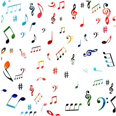 音楽記号のシームレスな背景のデザイン。  イラスト・ベクター素材