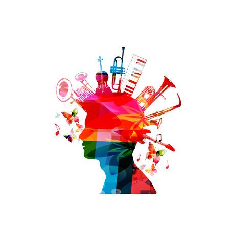 Kleurrijk mensensilhouet met muziekinstrumenten. Muziekinstrumenten met menselijk hoofd voor kaart, poster, uitnodiging. Muziek achtergrond ontwerp vectorillustratie