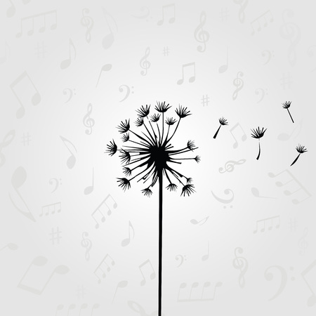 Black and white dandelion design for card, poster, invitation. Dandelion vector illustration