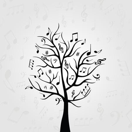 음악 노트와 흑백 음악 트리입니다. 카드, 포스터, 초대장에 대 한 음악 기호입니다. 음악 배경 디자인 벡터 일러스트 레이션