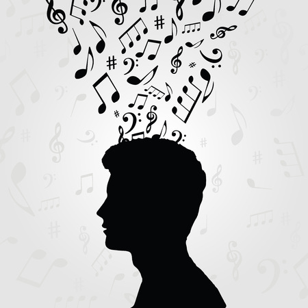Black and white man silhouette with music notes. Music symbols with human head for card, poster, invitation. Music background design vector illustration