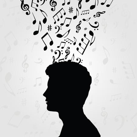 Zwart en wit man silhouet met muziek notities. Muzieksymbolen met menselijk hoofd voor kaart, affiche, uitnodiging. Muziek achtergrond ontwerp vectorillustratie Stock Illustratie