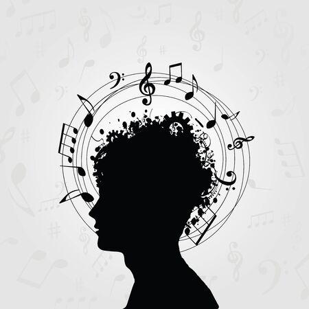 音符と黒と白の男のシルエット。音楽記号カード、ポスター、招待状の頭部を。音楽背景デザイン ベクトル イラスト 写真素材 - 88000158
