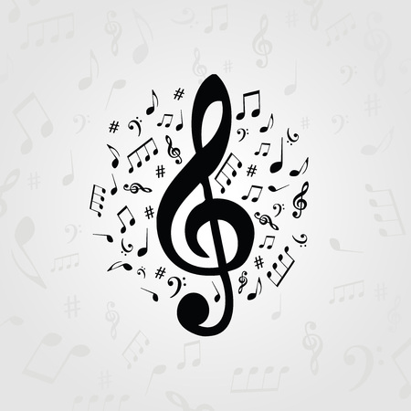 Black and white music poster with music notes. Music elements banner for card, poster, invitation. Music background design vector illustration Vettoriali