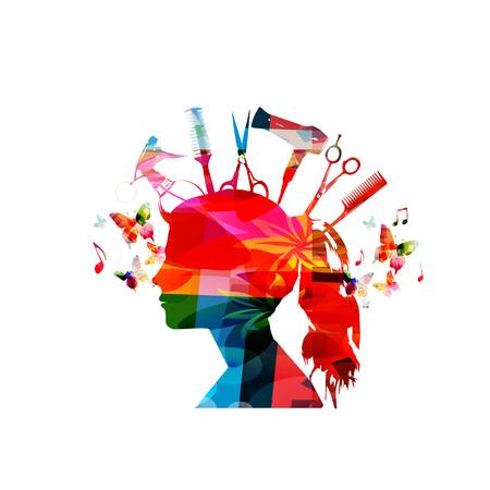 Silhouette féminine colorée avec des outils de coiffure isolés. Tête de femme avec peigne, ciseaux, pulvérisateur, brosse à cheveux et séchoir vector illustration