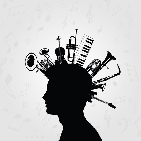 Zwart en wit man silhouet met muziekinstrumenten. Muziekinstrumenten met menselijk hoofd voor kaart, poster, uitnodiging. Muziek achtergrond ontwerp vectorillustratie